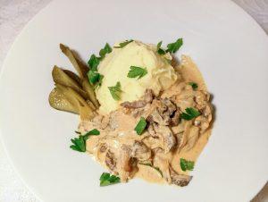 Бефстроганов из говядины с грибами рецепт пошагово с фото