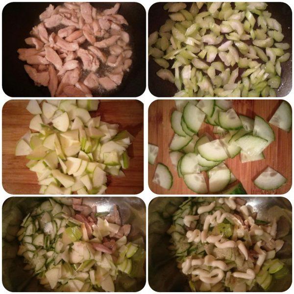 Тёплый салат с курицей, яблоком и сельдереем рецепт