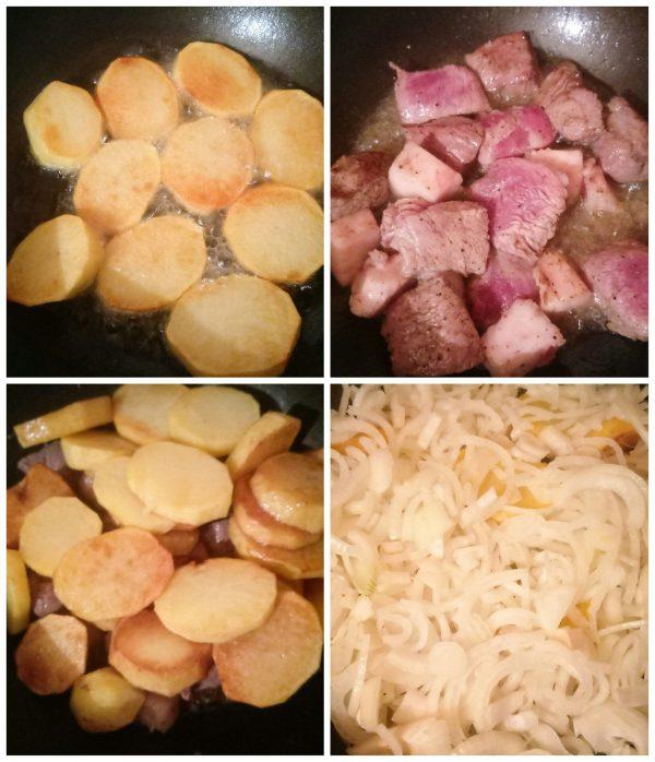 Жареный картофель с мясом и луком рецепт приготовления пошагово