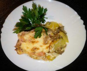 Запеченная куриная грудка с картофелем и сыром рецепт