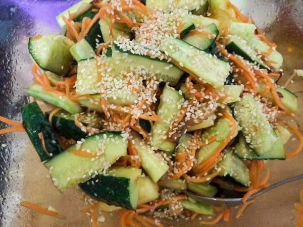 Салат свежих кабачков с огурцами рецепт с фото