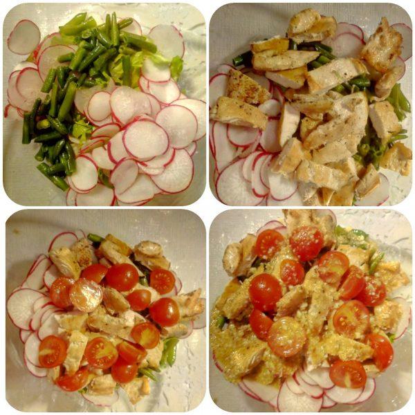 Тёплый салат с курицей, стручковой фасолью и редисом.