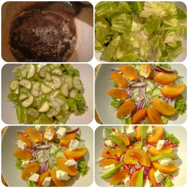 Салат с хурмой, авокадо и феты рецепт