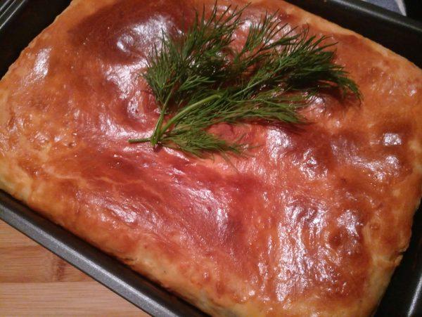 Пирог с грибами, картофелем и сыром