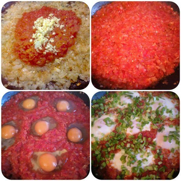 Яичница с помидорами, сладким перцем и луком на сковороде