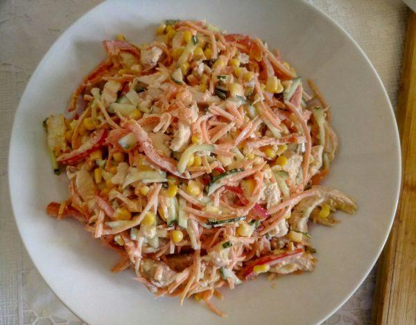 Салат из запечённой куриной грудки с корейской морковью рецепт с фото пошагово