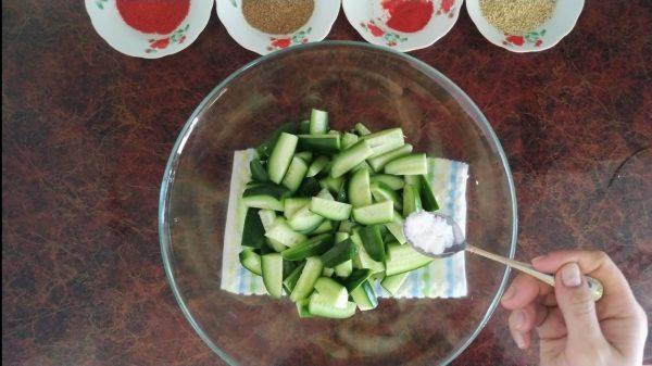 Огурцы для салата по-корейски