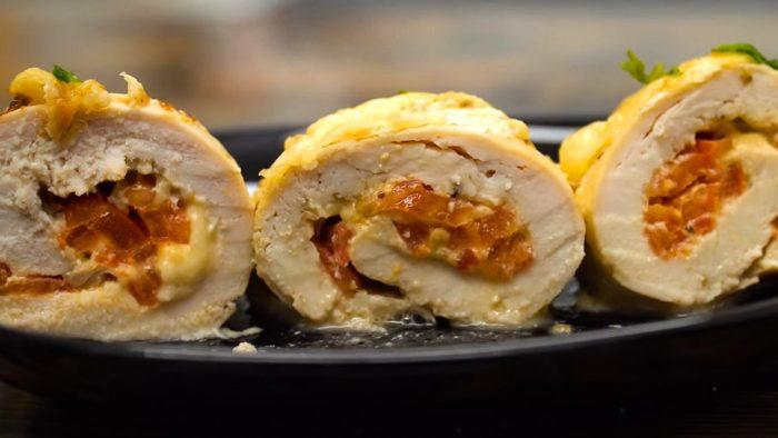Куриные рулетики с сыром в духовке пошаговый рецепт с фото