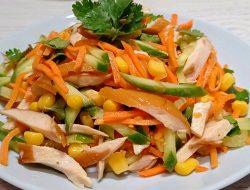 Салат с корейской морковью и копчёной курицей рецепт с фото
